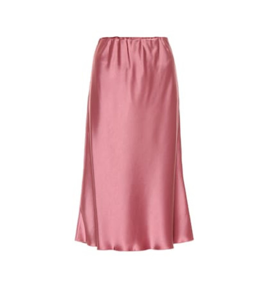 Nanushka Zarina satin midi skirt in pink
