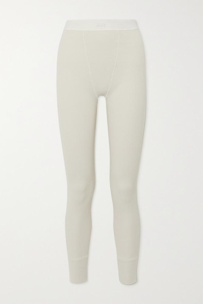 SKIMS - Thermal Ribbed Cotton-blend Leggings - Bone in cream