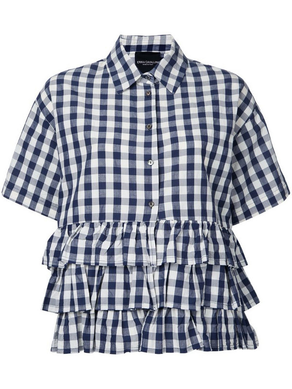 Erika Cavallini checked ruffled shirt in blue