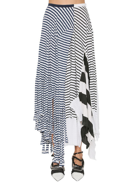LOEWE Striped Cotton Blend Jersey Skirt in blue / white