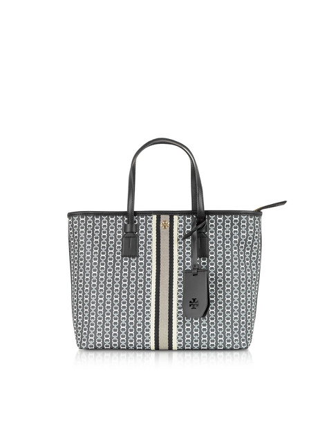 Tory Burch Gemini Link Coated Canvas Small Tote Bag in black