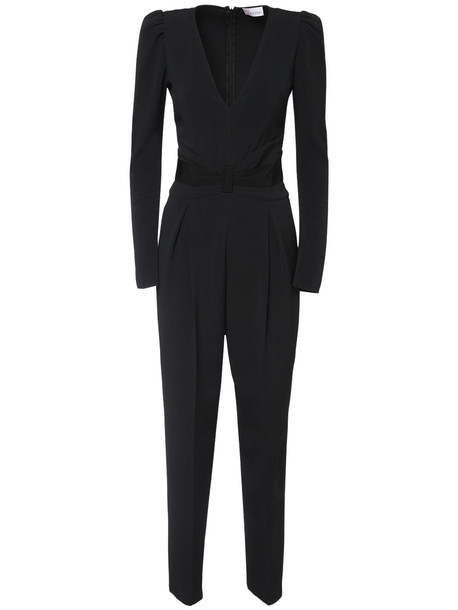 RED VALENTINO V Neck Crepe Long Jumpsuit in black