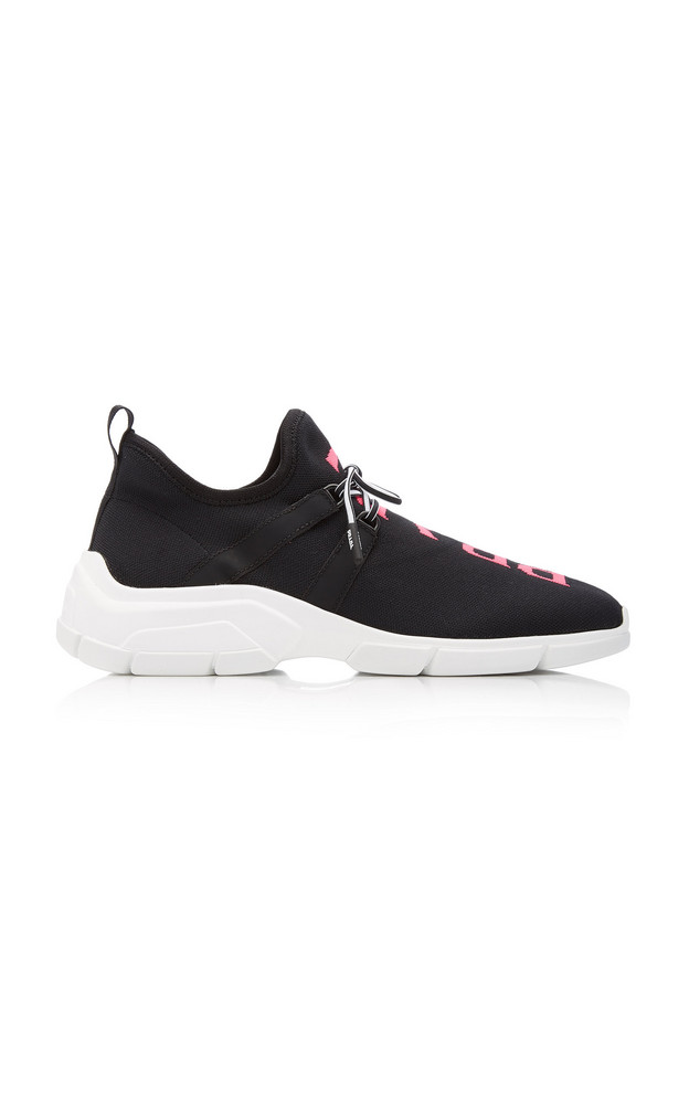Prada Leather-Trimmed Intarsia Stretch-Knit Sneakers in black