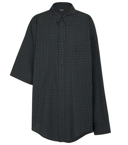 Balenciaga Asymmetric checked cotton shirt in black