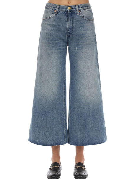 GUCCI Wide Leg Washed Cotton Denim Jeans in blue