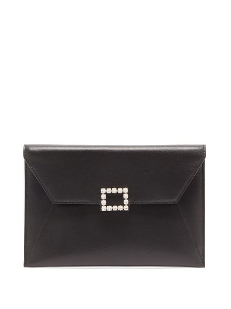 Roger Vivier - Très Vivier Crystal-embellished Leather Pouch - Womens - Black