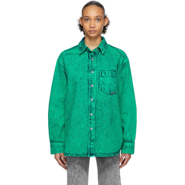 Alexander Wang Green Denim Acid Oversized Shirt