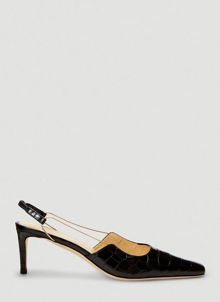 by FAR Gabriella Crocodile-Embossed Heels in Black size EU - 37