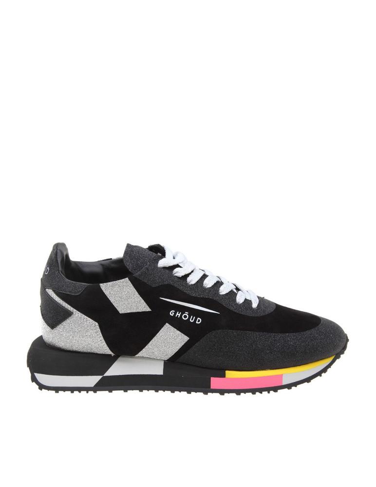 Ghoud Star Sneakers In Suede And Glitter in black