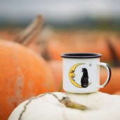 home accessory,mug,moon,cats,black cats,witchy,witch