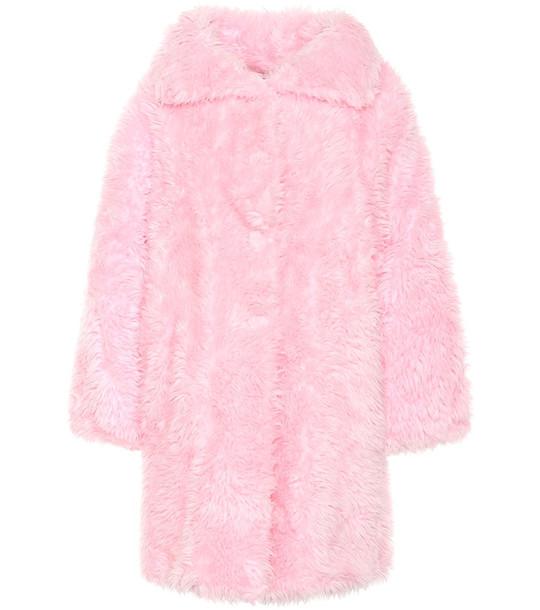 Balenciaga Swing faux fur coat in pink