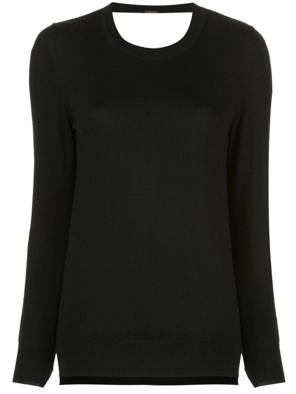 Adam Lippes lace detail knit jumper in black