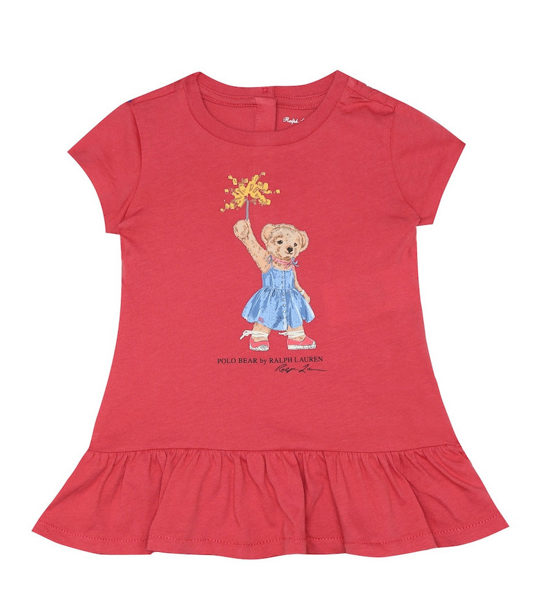 Polo Ralph Lauren Kids Baby Polo Bear cotton dress and bloomers set in red