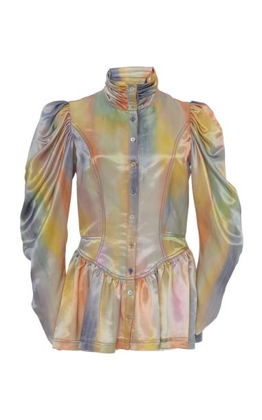Sies Marjan Thea Printed Peplum Satin Jacket Size: 0