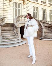 jacket,fur jacket,white fur jacket,white boots,heel boots,white jeans,cropped jeans,straight jeans,bag