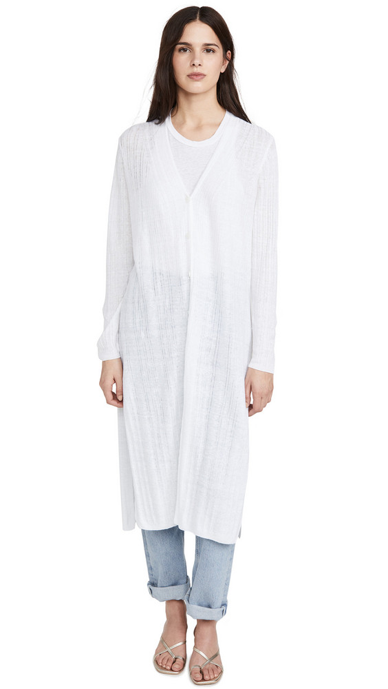360 SWEATER Linen Autumn Cardigan in white