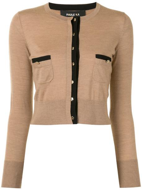Paule Ka contrast-trimmed wool cardigan in brown