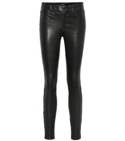 J Brand Mid-rise skinny leather pants in black