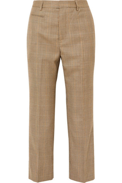 R13 - Cropped Leopard Print Voile-trimmed Checked Wool Straight-leg Pants - Brown