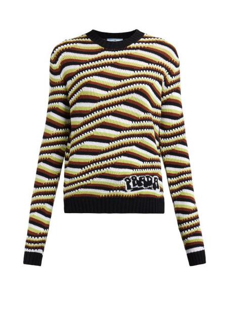 Prada - Stripe And Wave Intarsia Cashmere Sweater - Womens - Orange Multi