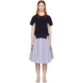 dress,white,blue,knit