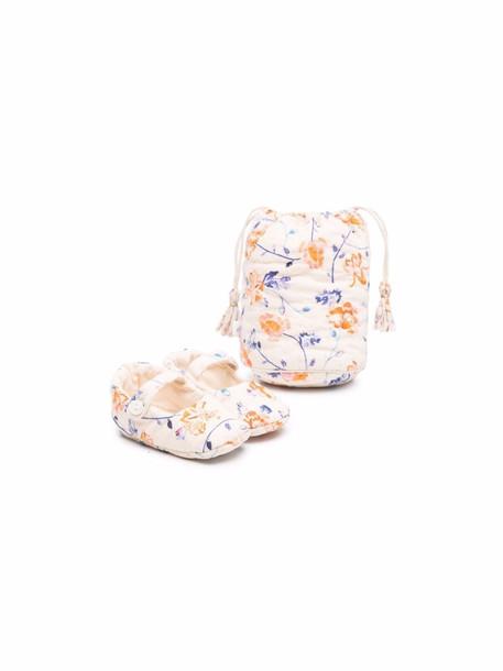 Bonpoint floral-print crib shoes - Neutrals