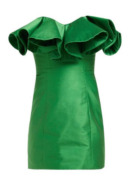 Attico - Ruffle Trim Cotton Blend Bustier Dress - Womens - Green