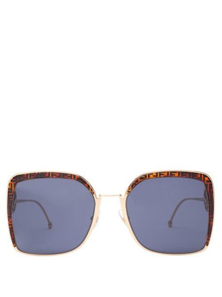 Fendi - F Is Fendi Ff Logo Square Frame Sunglasses - Womens - Tortoiseshell
