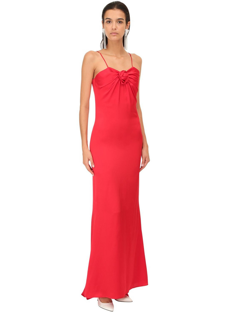 ALESSANDRA RICH Satin Long Dress in red