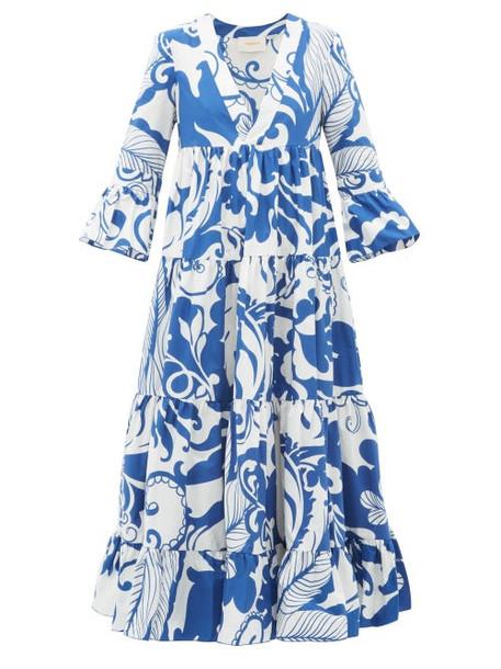 La Doublej - Jennifer Jane Printed Cotton Dress - Womens - Blue White