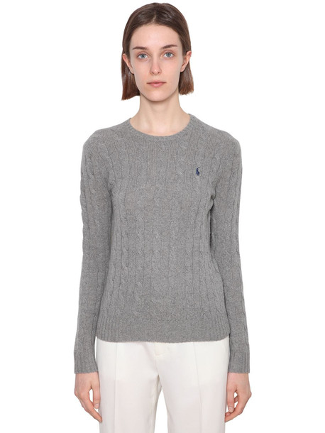 POLO RALPH LAUREN Merino Wool & Cashmere Cableknit Sweater in grey