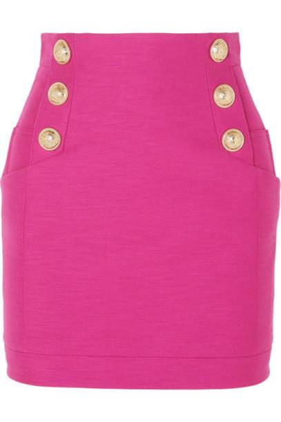 Balmain - Button-embellished Cotton Mini Skirt - Pink