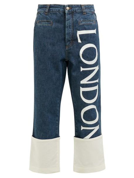 Loewe - Fisherman Cropped Straight Leg Jeans - Womens - Blue White