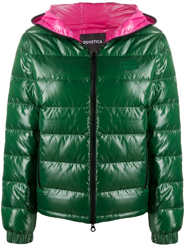 Duvetica Kumadue logo patch puffer jacket in green