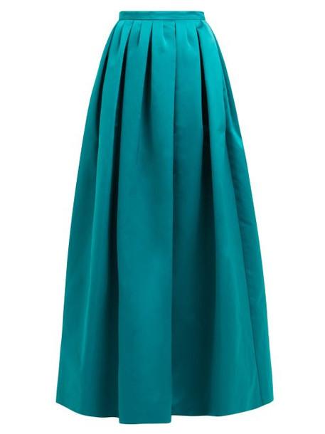 Rochas - High Rise Duchess Satin Maxi Skirt - Womens - Green