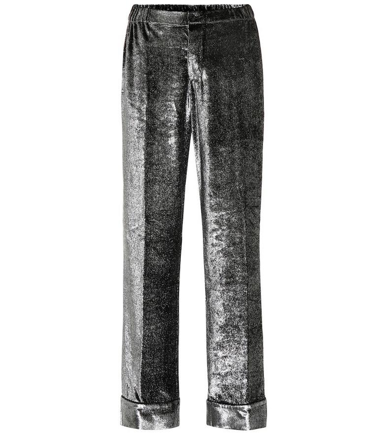F.R.S For Restless Sleepers Etere velvet wide-leg pants in silver