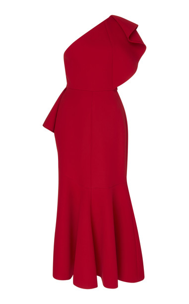 Elie Saab One-Shoulder Ruffle Dress in red