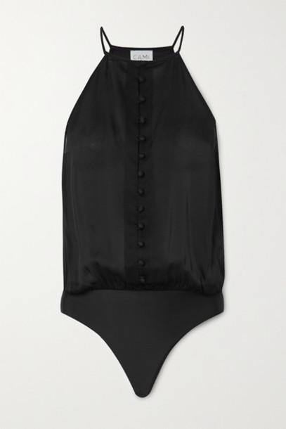 Cami NYC - The Trina Silk-chiffon Thong Bodysuit - Black