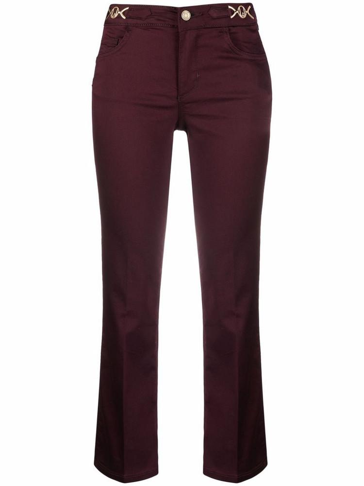 LIU JO low-rise flared trousers in red