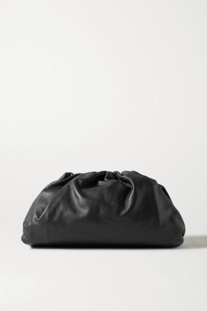 Bottega Veneta - The Pouch Large Gathered Leather Clutch - Black