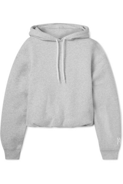alexanderwang.t - Stretch-cotton Jersey Hoodie - Light gray