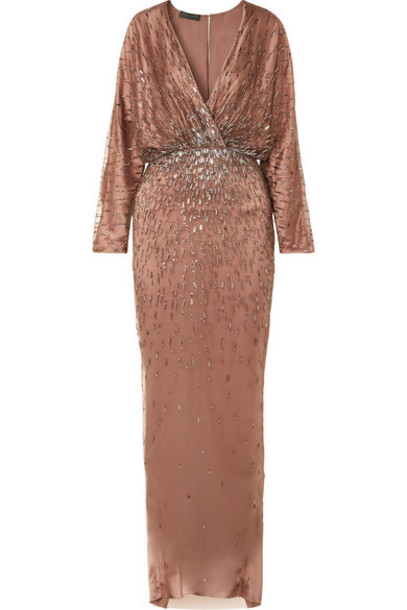 Monique Lhuillier - Wrap-effect Draped Embellished Tulle And Silk-satin Gown - Blush
