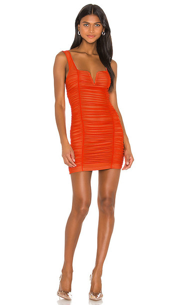 superdown x Draya Michele Marlene Ruched Mini Dress in Orange in coral