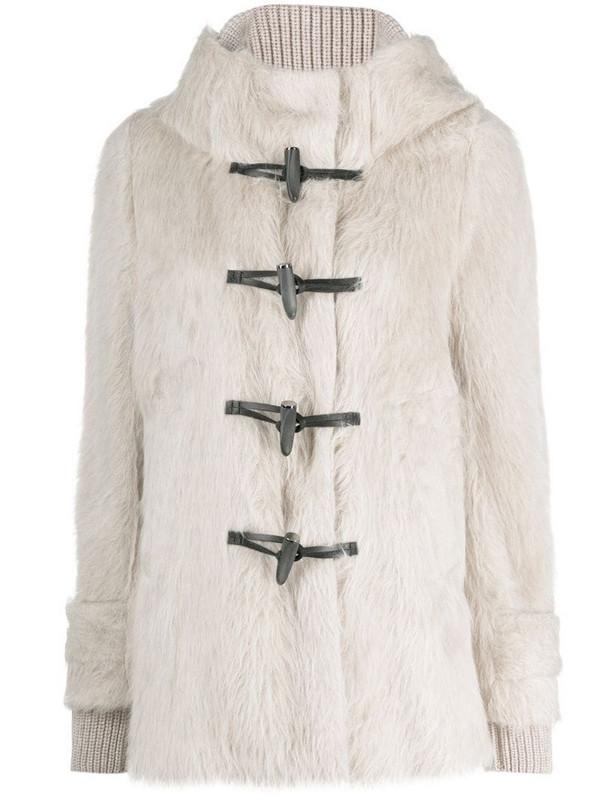 Lorena Antoniazzi faux-fur duffle coat in neutrals