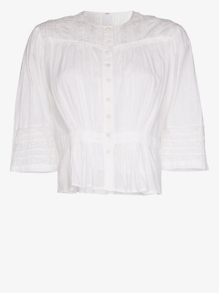 MIMI PROBER 3/4 sleeve gigi sleeve blouse in white