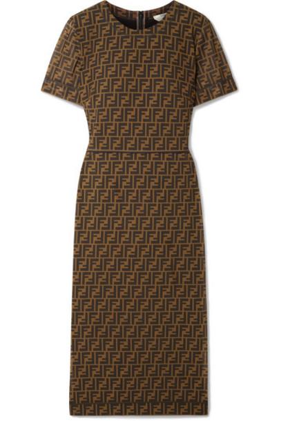 Fendi - Printed Stretch-mesh Midi Dress - Brown