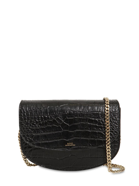 A.P.C. Genéve Croc Embossed Leather Bag in black