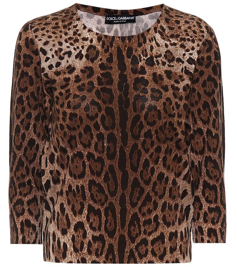 Dolce & Gabbana Leopard-print wool sweater in brown