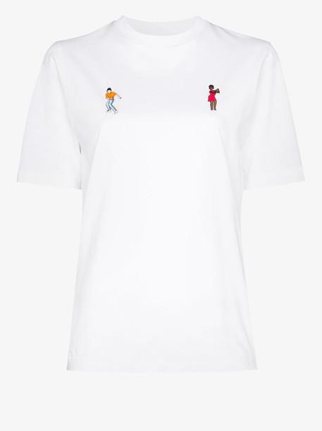 Kirin dancer embroidered T-shirt in white
