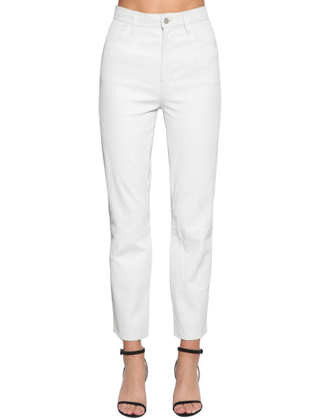 J BRAND Jules High Rise Straight Leather Pants in white